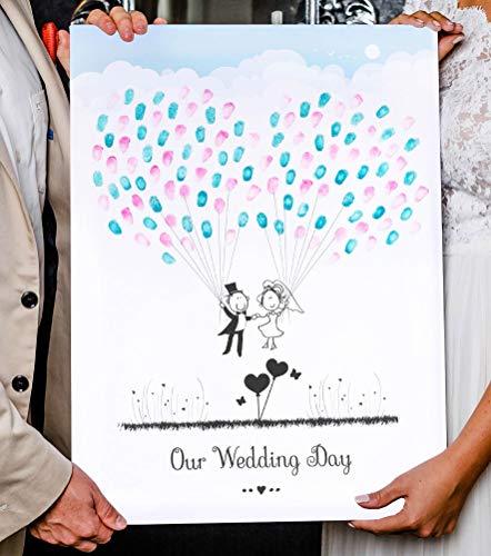 Wedding Tree Fingerabdruck Baum auf Leinwand für die Hochzeit (Luftballons, 45 x 60 cm)