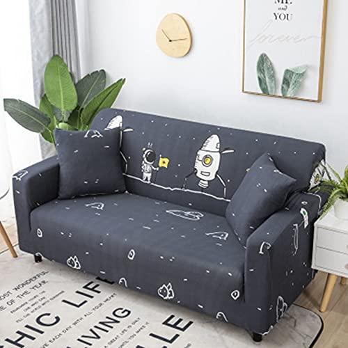 Funda elástica para sofá, Fundas elásticas de Dibujos Animados para sofá, Funda para Silla, sillón, Protector Antipolvo para Muebles, A4, 2 plazas