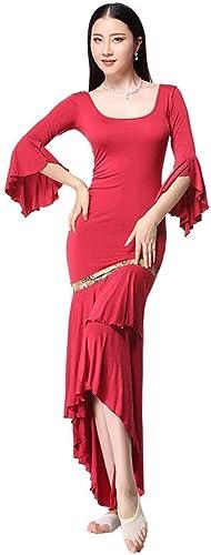 Adulte Sexy Modal Trompette Manches Une pièce Jupe Pratique de Danse du Ventre vêtements Femme Dos Nu vêtements de Danse Slim