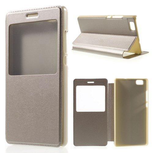 jbTec® Flip Case Handy-Hülle passend für Huawei P8 Lite - mit Fenster - Handy-Tasche Schutz-Hülle Cover Handyhülle Bookstyle Booklet, Farbe:Champagne