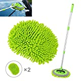 2 in 1 Microfiber Car Wash Mop Mitt with Long Handle, Car Wash Brush Duster Extension Pole 45 in, Scratch Free Cleaning Tool Dust Collector Supplies for Washing Car,Truck, RV. 2Pcs Mop Head
