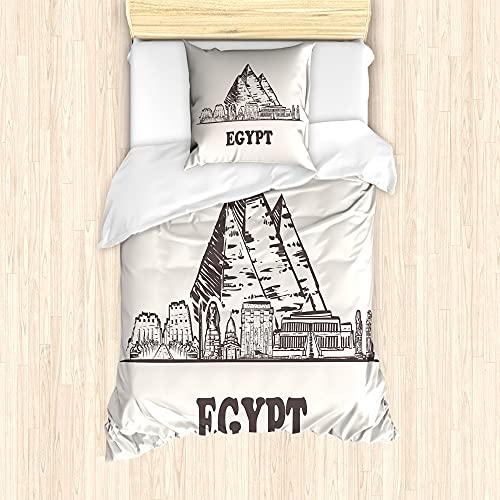 ABAKUHAUS egipcia de la Vendimia Ensemble de Housse de Couette, pirámides de Keops, Decorativo Piezas con Funda de Almohada, 135 cm x 200 cm - 80 x 80 cm, Oscuro Gris Topo cáscara de Huevo