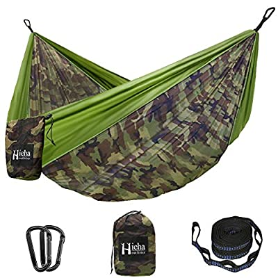 Hieha Camping Hammock - Single Portable Tree Hommock (2 Tree Straps 10 Loops/13 ft Included), Lightweight Parachute Hammocks for Backpacking, Travel, Beach, Backyard, Patio, Hiking Survival