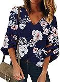 Dokotoo Blouse Femme Chemisier Manche 3/4 Trompette Top Chemise Tunique Haut Imprimé Col V Lâche Fluide en Mousseline T Shirt Automne Printemps été,V Bleu,S