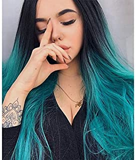ENTRANCED STYLES Ombre Blue Wig Long Straight Wig for Women with Middle Part Dark Roots Costume Cosplay Wig Heat Resistant Fiber Party Wig (Blue Ombre)