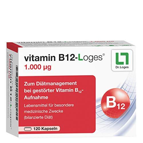 vitamin B12-Loges® 1.000 ug 4-Monatspackung - Hochdosiertes Hydroxo-Cobalamin - Zum Diätmanagement bei gestörter Vitamin B12-Aufnahme - mit Depot-Effekt - ohne Titandioxid - 120 Kapseln