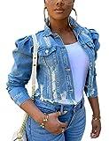 Omoone Women's Ripped Puff Sleeve Denim Crop Top Long-Sleeve Cropped Jean Jacket(1676-Blue-L)