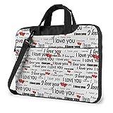 I Love You Words with Hearts Unisex Laptop Bag Messenger Bandolera para maletín de computadora Funda de Transporte