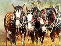 大人のカウントクロスステッチキット馬40X50CM14CTホリデーギフトDIY刺繡スターターキット簡単なパターン女の子のための刺繡工芸品クロスステッチ用品針仕事