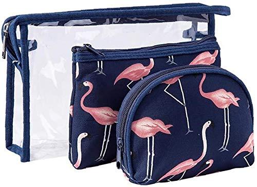 3piece / SET Sac cosmétique Set Pvc Maquillage Organisateur Voyage Portable Pouch Toiletry clair maquillage Organisateur Sacs avec fermeture à glissière for Voyage ou utilisation quotidienne (rose)