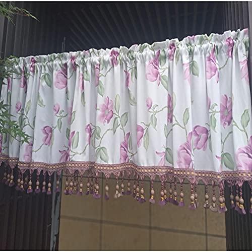 Cortina media cortina,cortinas cortas, cortina de borlas retro idílica,cortina pequeña de bolsillo de varilla,para cocina,cortinas café,baño,cortina armario,cortina de fregadero,cortina de bistró,1 pc