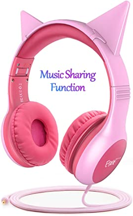 266f9168b20 Esonstyle Kids Headphones Pink Girls Update Music Sharing Function,Wired  Over Ear Cat Ear Headset