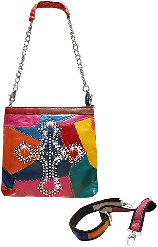 Designer Brightly Colored LEATHER Handbag Purse Cross Design RB5800