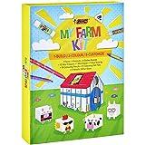 BIC997918 Kids MyFarmColouringKit - Rotuladores, Ceras, Lápices de Colores, Goma, Barra de Pegamento, Pegamento con Purpurina, Adhesivos, Animales y Establo de Papel - Caja de regalo con 50Uds.