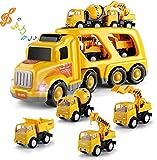 XINGDONG Juguetes educativos, vehículos de Transporte de la Ciudad, luz y música, cuentacuentos, Aviones de Doble pote, Juguete de vehículos de ingeniería Durable (Size : Construction Vehicles)