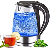 Edelstahl Glas Wasserkocher | 2200W | 1,7 Liter | Blaue...