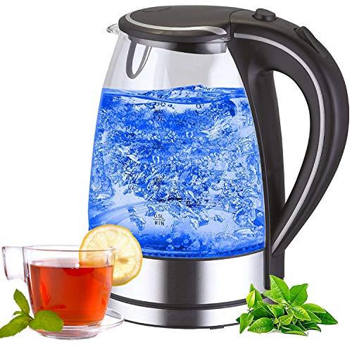 Edelstahl Glas Wasserkocher | 2200W | 1,7 Liter | Blaue LED Innen-Beleuchtung | 360 Grad | Kalkfilter | BPA Frei | Kettle | Wasseraufbereiter | Teekocher | Wasserkessel |