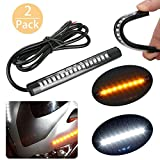 Bikers World 2PC Whie Amber Bike Led Lights Waterproof Flexible Strip Turn Signal Indicators Shocker Fork Light Drl For Harley Motorcycles