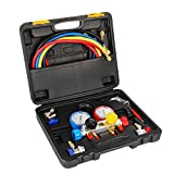 Raomdityat 4 Way AC Diagnostic Manifold Gauge Set with 1/4' Can Tap for R410A R22 R134A HVAC