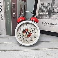シンプルでかわいい目覚まし時計 目覚まし時計ファッションアラーム時計学生3.5インチ目覚まし時計ベッドサイドクロックメタルリング目覚まし時計 (Color : Red)