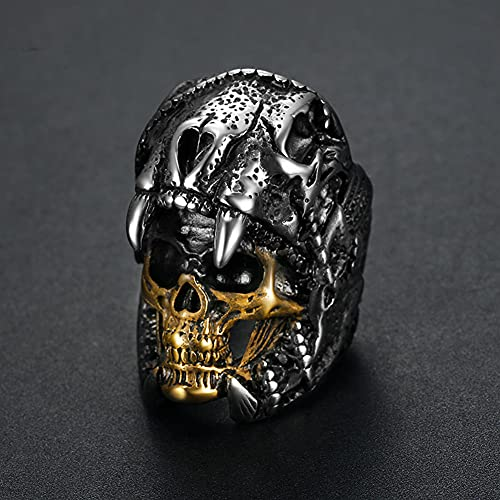 SYF@QYY Anillos Acero Inoxidable De Calavera Vintage Ghost Army of The North Jaguar Biker Punk Jewelry Gift,Oro,8