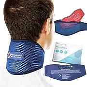 Sports Laboratory Supporto Cervicale PRO+, Per Dolori al Collo, Con Terapia Integrata Di Caldo e Freddo, Collare Cervicale Regolabile, Guida al Dolore al Collo (Regular (11-17inch))