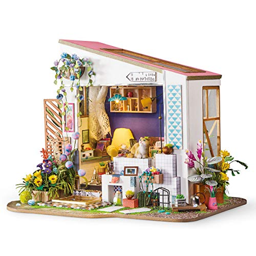 Rolife Dollhouse DIY Miniature Room Set-Wood Craft Construction Kit-Wooden Model Building Toys-Mini Doll House-Creative Birthday Gifts for Boys Girls Women and Friends (Cat's Porch)
