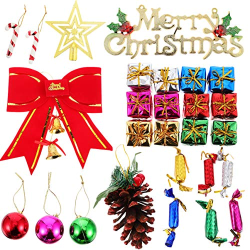 Tomaibaby Conjunto de Decoraciones para Árboles de Navidad Bola de Navidad Decoraciones de Bastón de Caramelo Mini Caja de Regalo de Cono de Pino Jingle Bell Toppers del Árbol de Estrellas
