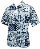 Blusas de Cuello de la Camisa de Manga Corta Novio Imprimen Hawaiano Bebe Casual s Azul
