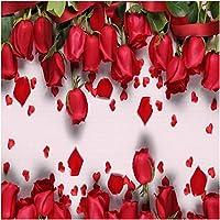 Xbwy 装飾壁画赤いバラロマンチックな壁画壁紙リビングルームテレビソファ背景壁の装飾壁画-280X200Cm
