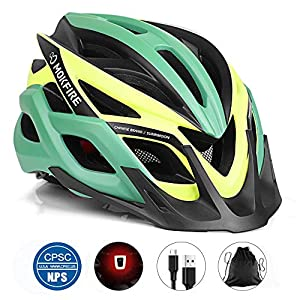 MOKFIRE Adult Bike Helmet with Rechargeable USB Light, Bicycle Helmet CPSC Certified for Men Women, Road Cycling & Mountain Biking Helmet with Removable Visor and Lining, 22.05-24.41 Inches