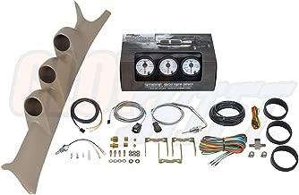 GlowShift Diesel Gauge Package for 1999-2007 Ford Super Duty F-250 F-350 6.0L 7.3L Power Stroke - White 7 Color 60 PSI Boost, 2400 F Pyrometer EGT & Transmission Temp Gauges - Tan Triple Pillar Pod