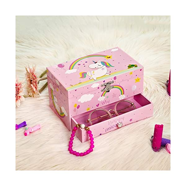"""SONGMICS Unicorn Ballerina Jewelry, Music Box with Pullout Drawer, Ring Slots and Divided Compartments, 7.5""""L x 4.3""""W x… 9"""