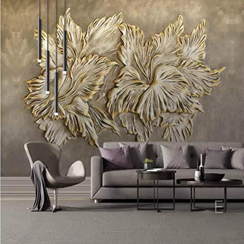 NIdezuiai Aanpassen 4D behang wanddecoratie vintage goud embossed bloempot serie Hd afdrukken grote zijde muur kunst muurschildering poster afbeelding voor woonkamer slaapkamer wooncultuur 72in×112in 180cm(H)×280cm(W) zoals getoond