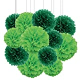 Aimto 12pcs Dark Green and Lemon Green Paper Pom Poms Decorations for St. Patrick's Day Party Hanging Tissue Flowers Decorations - 1 Color of 12 Inch, 10 Inch