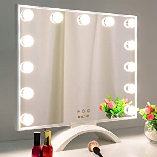 BEAUTME Makeup Mirror with Lights,Hollywood Lighted Vanity Mirror with LED UV Nail Dryer,Tabletop Beauty Mirror with 13pcs...