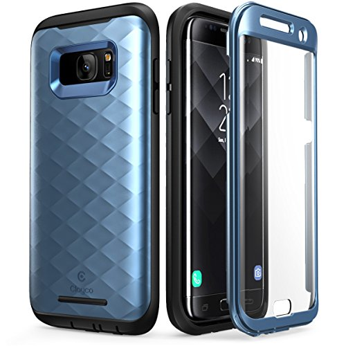 Clayco Funda Galaxy S7 Edge [Hera Series] Case Resistente con Protector de Pantalla Integrado para Samsung Galaxy S7 Edge (Version 2016) Azul