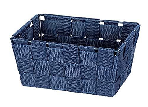 WENKO Cestino Adria mini, long blu scuro - Cestino da bagno, rettangolare, plastica intrecciata, Polipropilene, 19 x 9 x 14 cm, Blu