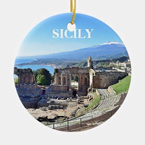rfy9u7 Round Ceramic Christmas Ornaments Gift, Sicily Panoramic Christmas Ornament, 3 Inch Holiday Home Decor