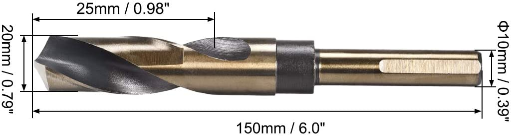 uxcell Reduced Shank Twist Drill Bits 14.5mm High Speed Steel 4341 with 10mm Shank 1 Pcs