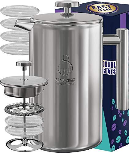 SAMBANGAN French Press Kaffeebereiter Edelstahl Kaffeepresse Kaffeezubereiter 60 Unzen doppelwandige metallisolierte Kaffeeteekocher mit 4-stufigem Filtersystem, rostfrei, spülmaschinenfest (1.75L)