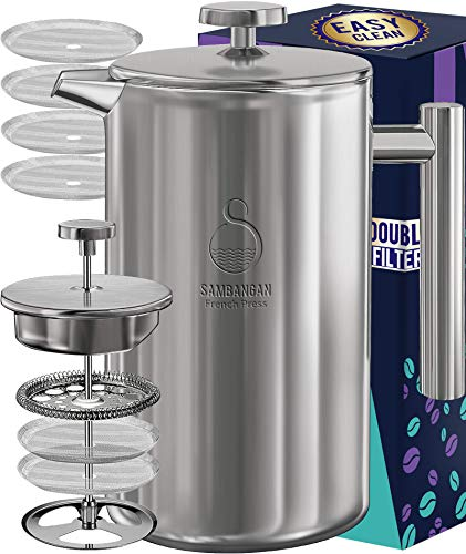 French Press Coffee Maker Stainless Steel 60oz DoubleWall Metal Insulated Coffee Tea Makers with 4 Level Filtration System RustFree Dishwasher Safe 1750ml