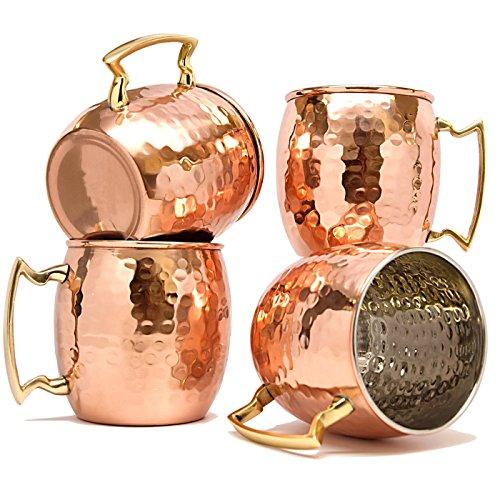 terashopee® Lot de 4 tasses pour cocktail Moscow Mule en cuivre intérieur en nickel martelé 550ml by TeraShopee