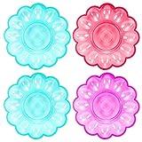 Cabilock Bandeja de de Huevos Rellenos de Plástico Redondo Bandeja de Huevos Removible de 4 Piezas Recipiente Reutilizable para Huevos Rellenos Y Arrancador de Servicio Color