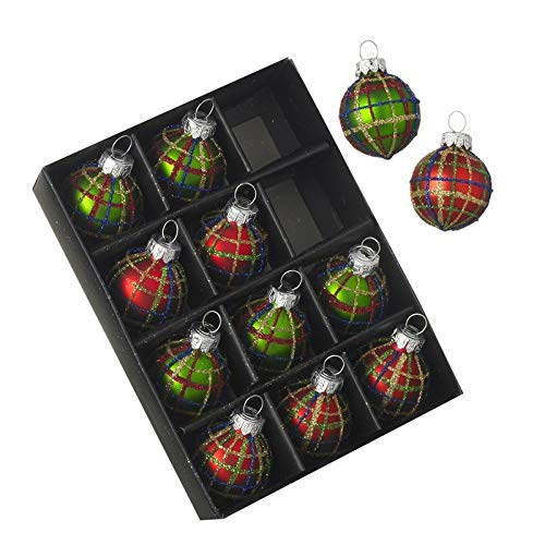 Mini Tartan Glass Bauble Tree Decorations. Set of 12