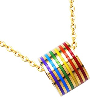 Prettyia Multicolor Stainless Steel LGBT Lesbian Gay Pride Pendant Necklace for Festival Gifts