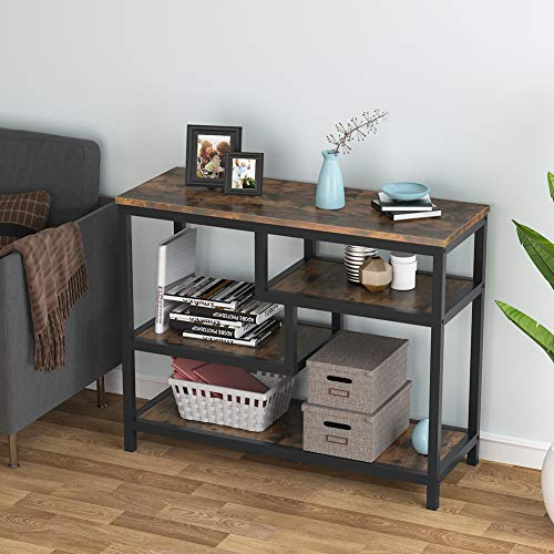 Console Table, Industrial Entryway Table Sofa Table with 2 Shelves, 107x40x75cm