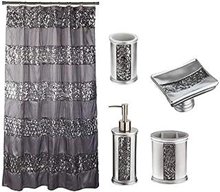 Popular Bath 5 Piece Sinatra Silver Shower Curtain And Resin Accessory Set