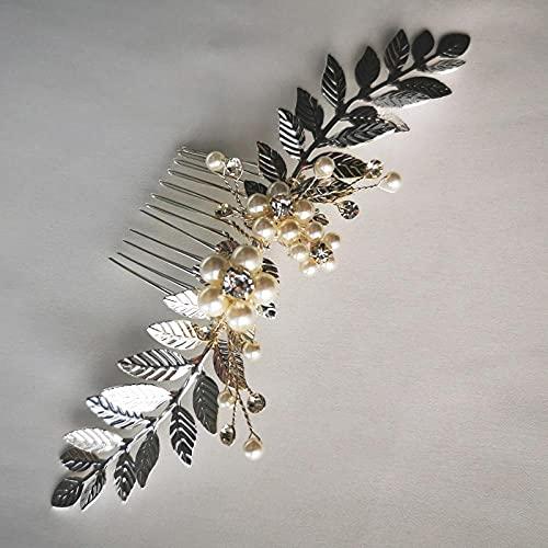 Peineta para el pelo de novia, color dorado y plateado, con hojas,...
