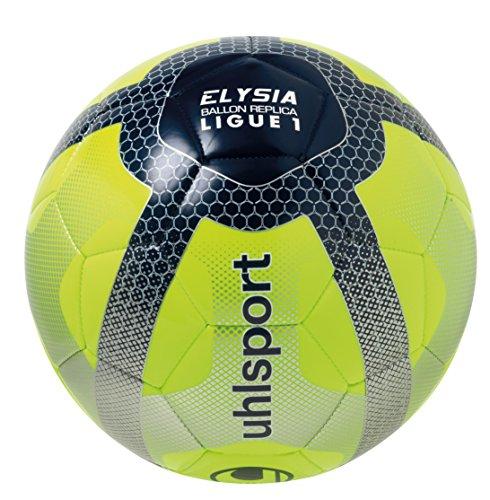 Uhlsport Elysia Replica Ballon de Football Mixte Adulte, Jaune Fluo/Bleu Marine/Argent -
